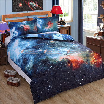 2016 New 3D Hipster Galaxy Bedding Set Universe Outer Space Themed Galaxy Print Bed linen Duvet Cover Flast Sheet & Pillow Case