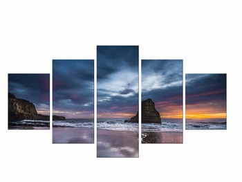 5 Pieces Seascape picture canvas painting sea waves beach rock sunset landscape wall art room home decor Canvas Prints Framed
