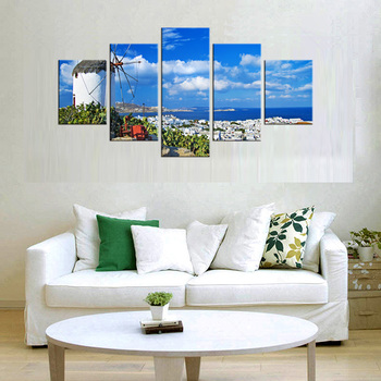 5 Pieces Wall Hanging Pictures Greece Santorini Island Scenery Landscape Oil Paintings Prined Home decoration painting Framed