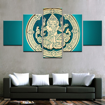 Wholesale Framed 5 Panels Picture Indian Buddha HD Canvas Print Painting Artwork Wall Art Canvas painting/11Y-ZT-12