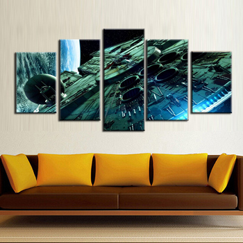 5 panel frame Space station canvas wall painting art home decoration living room canvas printing modern painting/11Y-ZT-100